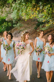 2020 Cheap V Neck A Line Chiffon Light Sky Blue Short Bridesmaid Dresses / Gowns