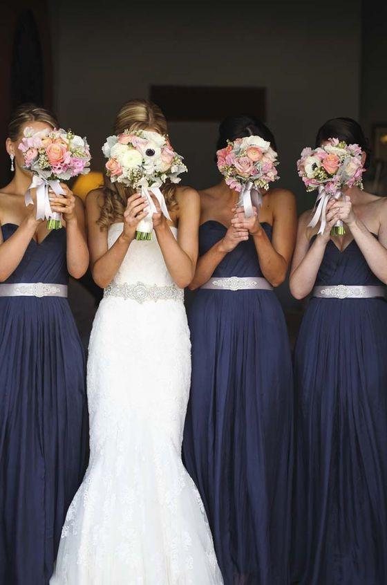 2020 Newly A Line Navy Blue Chiffon Strapless Long Bridesmaid Dresses / Gowns