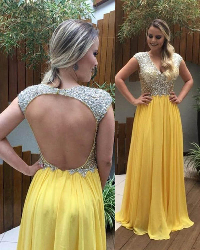 Beading Backless V-line Yellow Aline Chiffon Prom Dresses