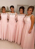 2020 Cheap A Line Pink Chiffon Bateau Lace Long Bridesmaid Dresses / Gowns