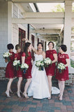 2020 New Arrival A Line Burgundy Lace Knee Length Cheap Bridesmaid Dresses / Gowns