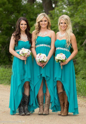 2020 New Arrival A Line Chiffon Teal High Low Short Bridesmaid Dresses / Gowns