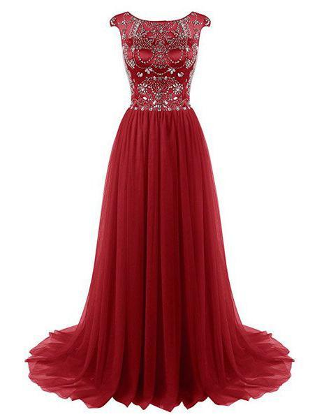 2020 Gorgeous Red Crystal Capped Sleeves Sweep Train Chiffon Prom Dresses