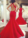 2020 Gorgeous Red Halter Backless Mermaid/Trumpet Prom Dresses
