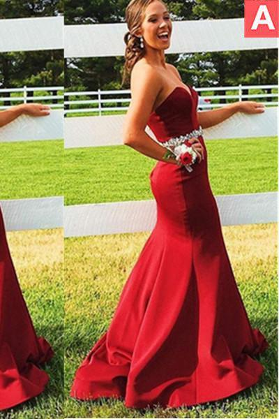 2020 Gorgeous Red Sweetheart Crystal Waist Satin Prom Dresses