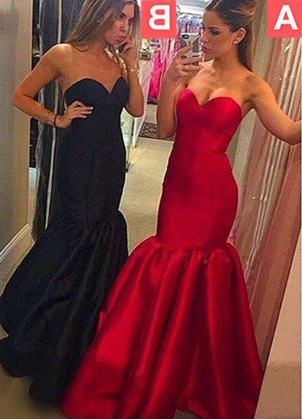 2021 Junoesque Black Sweetheart Mermaid/Trumpet Stain Prom Dresses