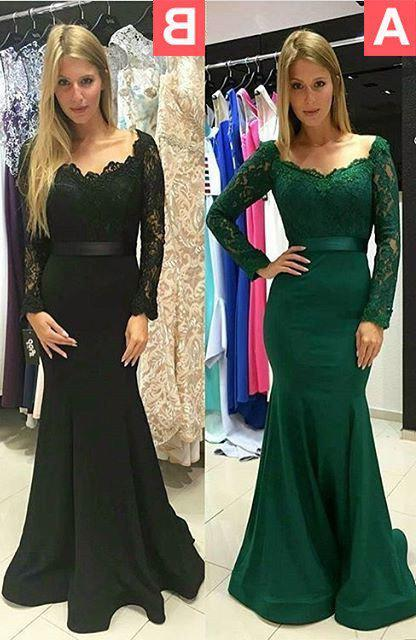 2020 Junoesque Black Off-the-Shoulder Lace Long Sleeve Mermaid/Trumpet Prom Dresses