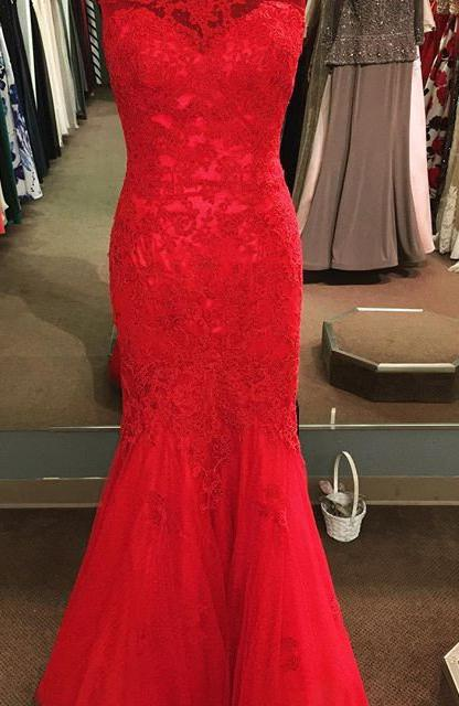 2020 Gorgeous Red Round Neck Sleeveless Mermaid/Trumpet Tulle Prom Dresses