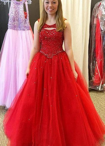 2020 Gorgeous Red Prom Dresses Round Neck Beading Tulle