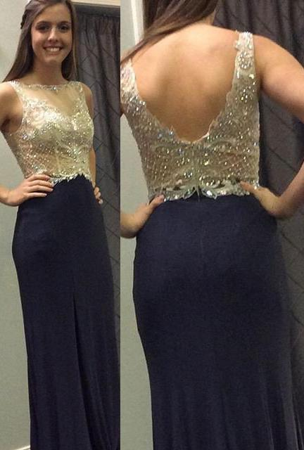LadyPromDress 2020 Blue Beading Backless Column/Sheath Stretch Satin Prom Dresses