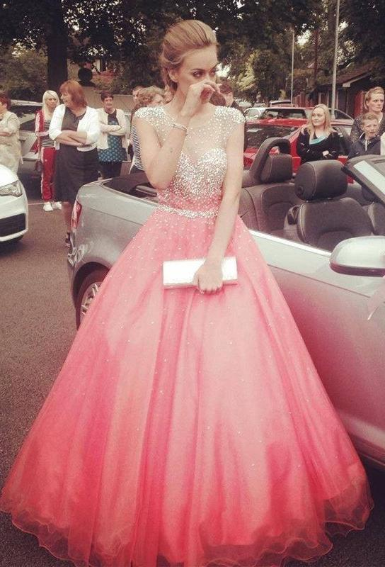 Water Melon Beading ?Floor-Length/Long Ball Gown Tulle Prom Dresses