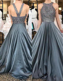 2020 Cheap Chiffon Princess/A-Line Beaded Silver Prom Dresses