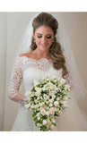 Lace Princess Floor Length Bateau 1/2 Sleeves Wedding Bridal Gowns / Dresses
