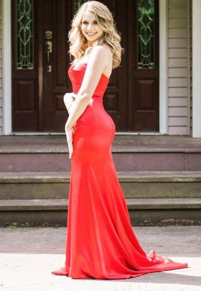 2020 Gorgeous Red Sweetheart Sweep Train Satin Prom Dresses