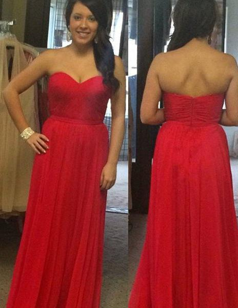 2020 Gorgeous Red Backless Sweetheart A-Line/Princess Chiffon Prom Dresses
