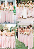 2020 Cheap A Line Blushing Pink Chiffon Long Bridesmaid Dresses / Gowns