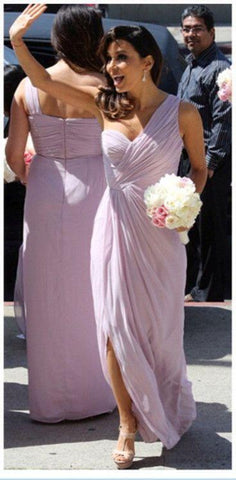 2020 Cheap A Line Lavender One Shoulder Chiffon Ruffles Long Bridesmaid Dresses / Gowns