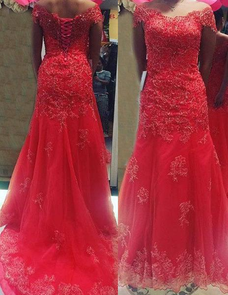 2020 Gorgeous Red Off-the-Shoulder Appliques Lace Up Tulle Prom Dresses