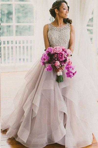 2020 A-Line Dusty Rose Layers Scoop Neck Prom Dresses