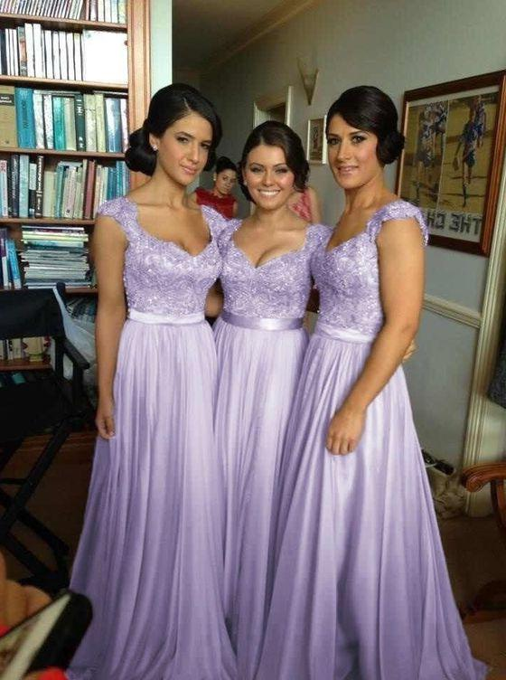 2020 Cheap A Line Lavender Satin Beaded Long Bridesmaid Dresses / Gowns