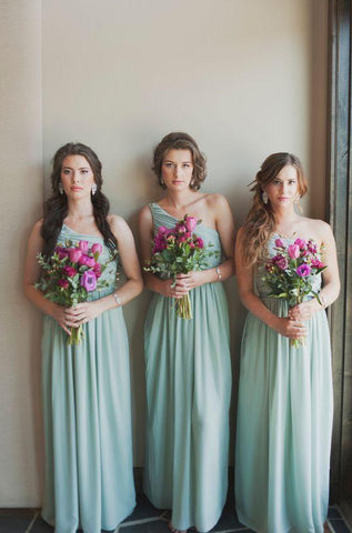 2020 One Shoulder A Line Chiffon Long Bridesmaid Dresses
