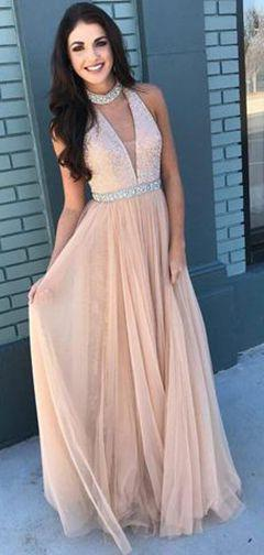 2020 Charming Princess/A-Line Tulle V-neck Pearl Pink Prom Dresses
