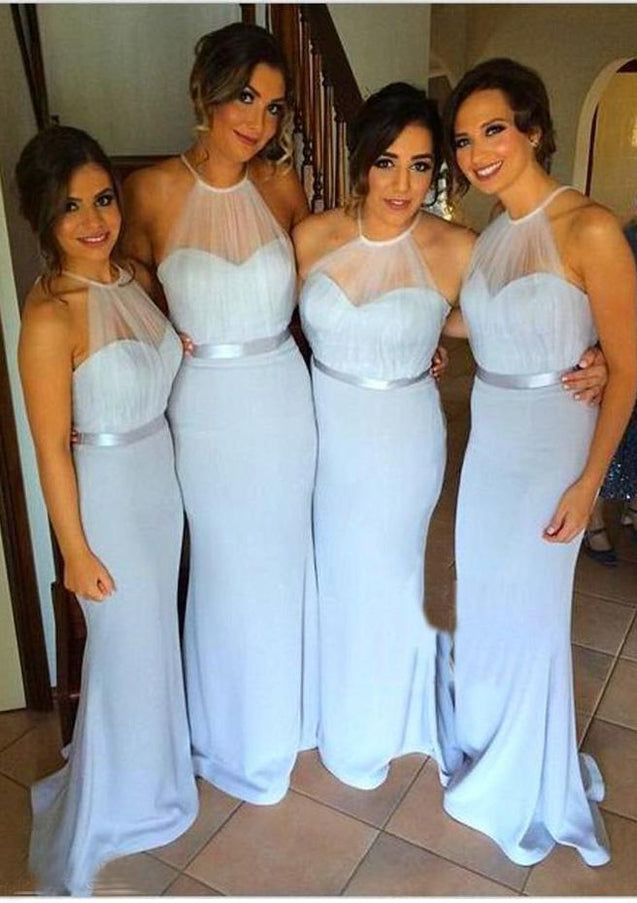 2021 Charming Mermaid Light Sky Blue Halter Satin Long Bridesmaid Dresses / Gowns