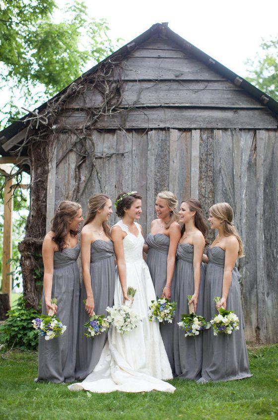 2020 Cheap A Line Grey Chiffon Strapless Ruffles Long Bridesmaid Dresses / Gowns