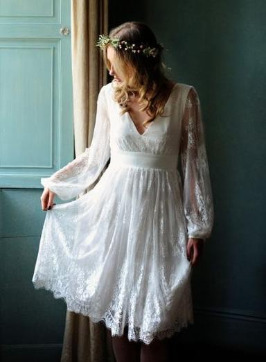 Elegant A Line Lace Knee Length Long Sleeves White Short Wedding Dresses