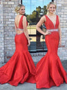 2020 Gorgeous Red Crystal V-Neck Sweep Train Mermaid/Trumpet Satin Prom Dresses