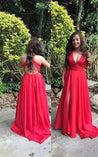 2020 Gorgeous Red Empire Waist Front-Slit Satin Prom Dresses