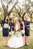 2020 Cheap A Line One Shoulder Dark Navy Lace Knee Length Bridesmaid Dresses / Gowns