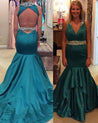 LadyPromDress 2021 Blue Beading Halter Mermaid/Trumpet Satin Prom Dresses