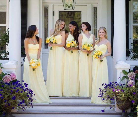 2020 Cheap A Line Daffodil Chiffon Strapless Long Bridesmaid Dresses / Gowns