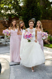 2020 Cheap A Line Chiffon Pink One Shoulder Long Bridesmaid Dresses / Gowns