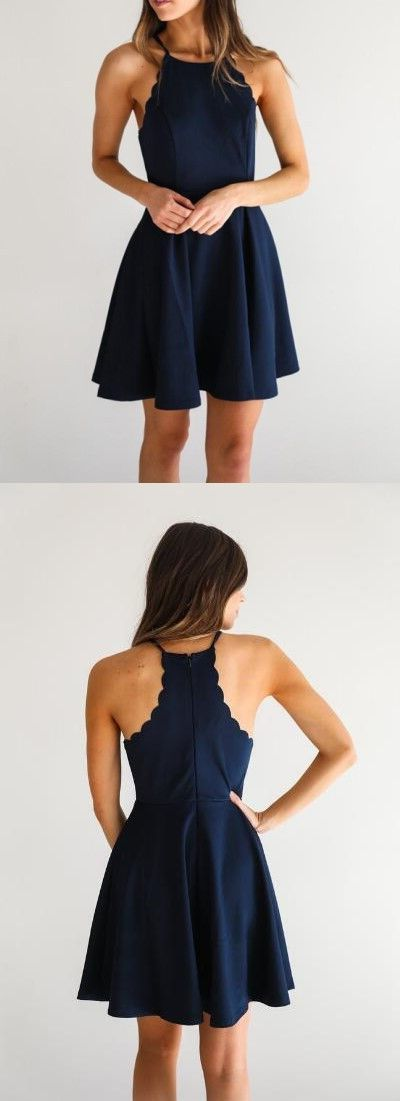 A Line Dark Navy Homecoming Dress,Cute Halter Party Dress