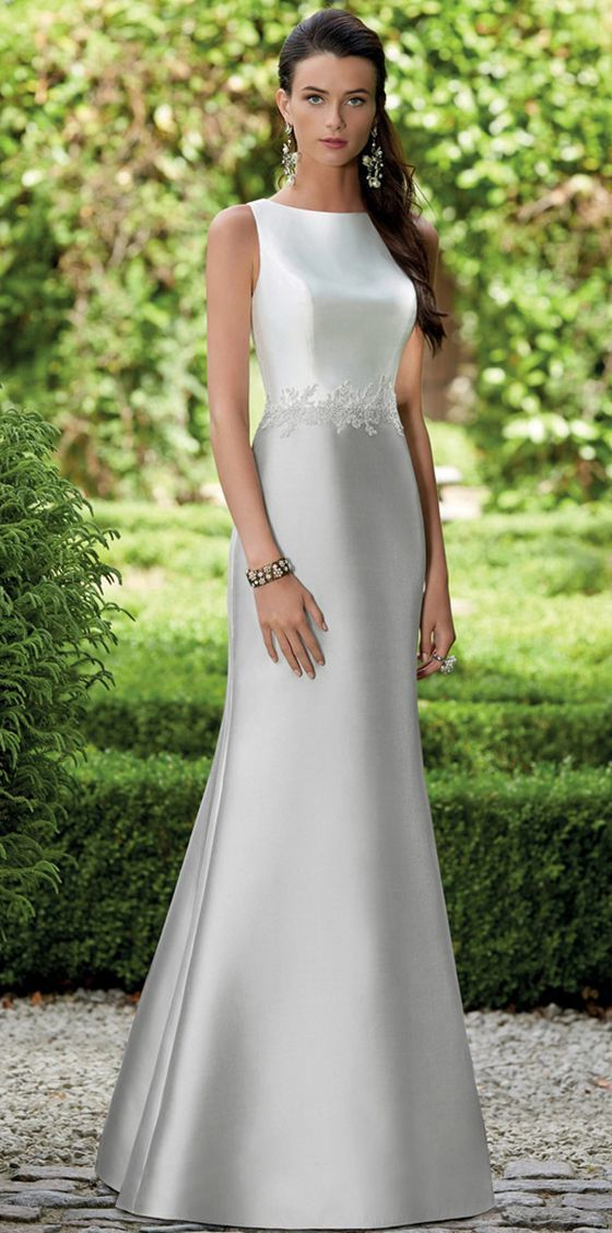 Elegant Satin Bateau Neckline Full length Mermaid Bridesmaid Dresses With Lace
