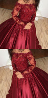 burgundy prom dress, off shoulder ball gowns, lace long sleeves prom dress