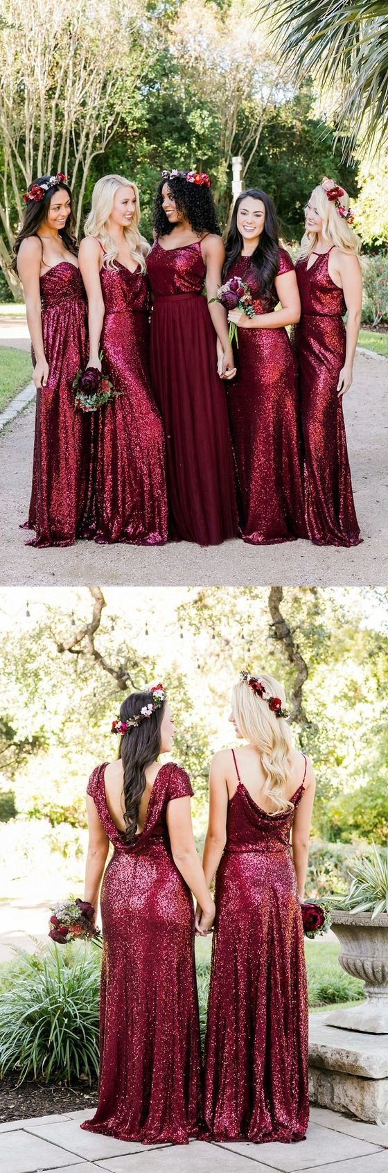 Mismatched Burgundy Bridesmaid Dresses, Sequin Bridesmaid Dresses, Long Bridesmaid Dresses Sequined