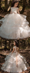 Pretty Organza Round Neckline Ball Gown Flower Girl Dress With 3D Lace Appliques & Beading & Belt