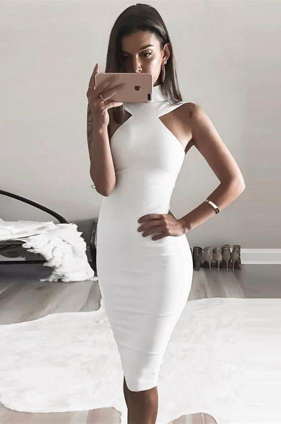Sheath High Neck Knee-Length White Stretch Satin Homecoming Dress