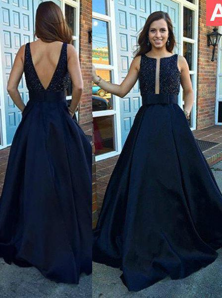 LadyPromDress 2020 Blue Crystal Straps Backless Satin Prom Dresses