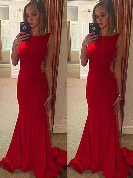 2020 Gorgeous Red Chapel Train Mermaid/Trumpet Stretch Satin Prom Dresses