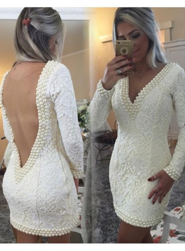 A-Line Princess Long Sleeves V-neck Lace Pearls Short Homecoming Dresses