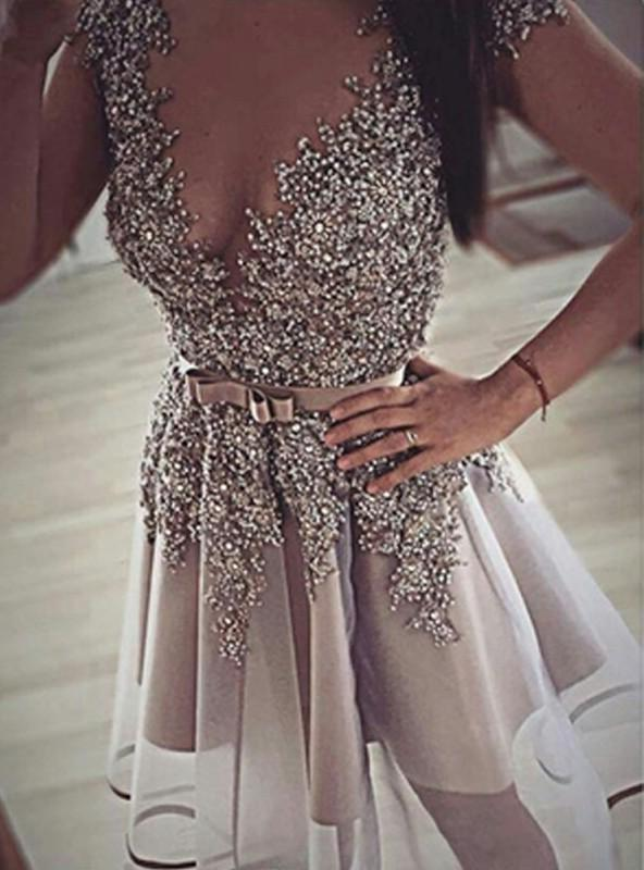 A-Line Princess Sleeveless V-neck Sequin Organza Short Homecoming Dresses