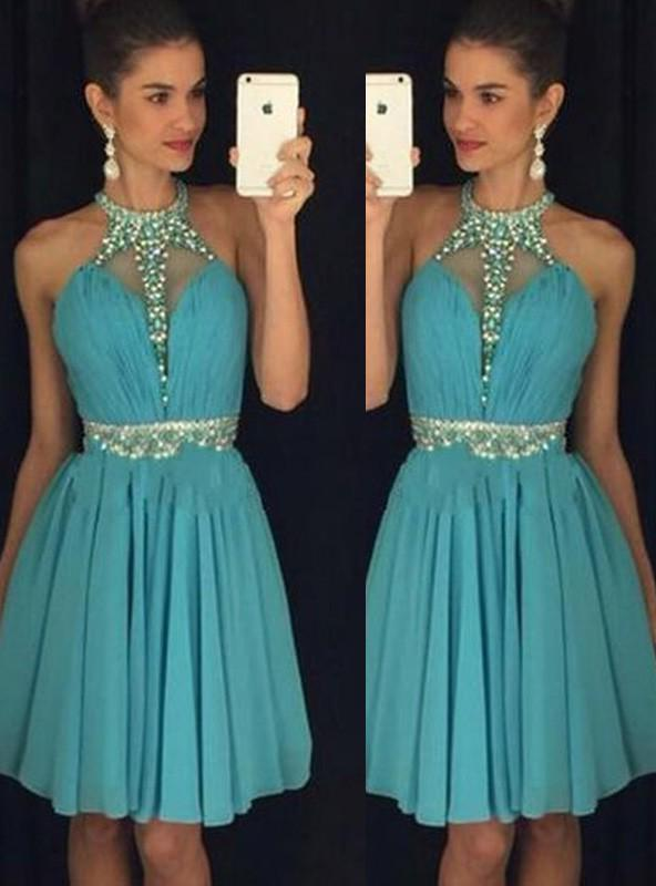 A-Line Princess Sleeveless Halter Short Beading Chiffon Homecoming Dresses