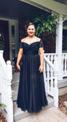 Cheap A-Line/Princess Off The Shoulder Sweetheart Black 2021 Plus Size Prom Dresses