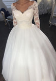 Satin Long Sleeves Sweetheart Ivory 2020 Ball Gown Wedding Dresses