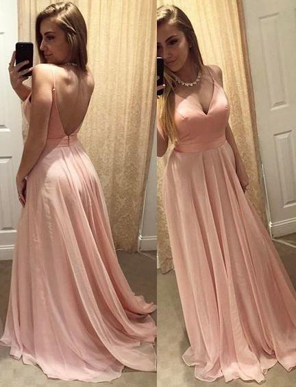 Cheap A-Line/Princess Chiffon Pearl Pink Backless Sweetheart 2020 Prom Dresses