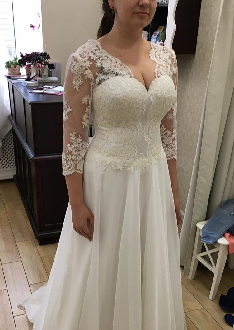 2020 Cheap A Line Long Sleeves Chiffon Wedding Dresses With Appliques
